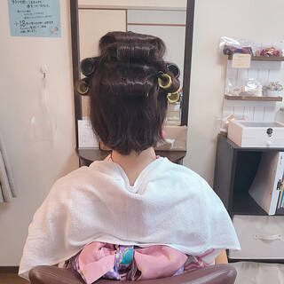 デート ボブ 結婚式 フェミニンヘアスタイルや髪型の写真・画像
