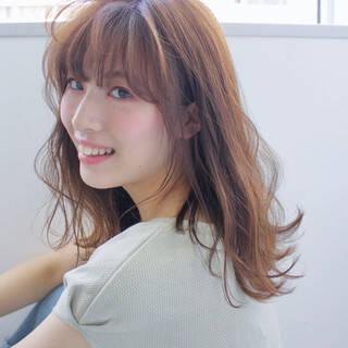 ヘアアレンジ セミロング ガーリー ヘアアクセヘアスタイルや髪型の写真・画像