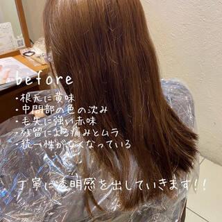 セミロング 透明感カラー ラベンダーピンク ブリーチなしヘアスタイルや髪型の写真・画像