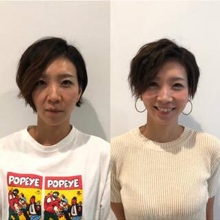 大人女子 前髪なし 艶髪 ショートヘアスタイルや髪型の写真・画像
