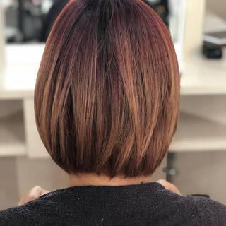 ボブ パープル フェミニン 暗髪バイオレットヘアスタイルや髪型の写真・画像
