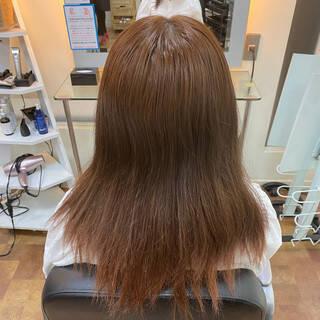 ナチュラル インナーカラーオレンジ オレンジブラウン インナーカラーヘアスタイルや髪型の写真・画像
