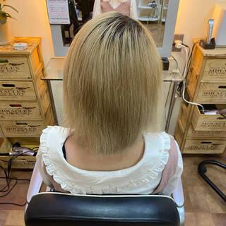 ボブ ヘアマニキュア ガーリー インナーグリーンヘアスタイルや髪型の写真・画像