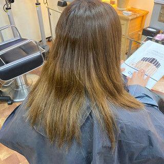 秋 グラデーションカラー ピンクラベンダー フェミニンヘアスタイルや髪型の写真・画像