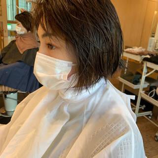 色気 ハンサムバング アンニュイ ミニボブヘアスタイルや髪型の写真・画像