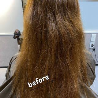 髪質改善 セミロング 縮毛矯正 ナチュラルヘアスタイルや髪型の写真・画像