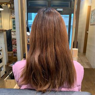 ピンク ピンクブラウン 切りっぱなしボブ ボブヘアスタイルや髪型の写真・画像