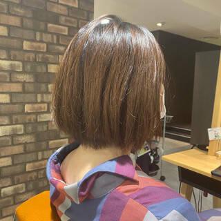 秋 イルミナカラー 透明感 ショートボブヘアスタイルや髪型の写真・画像