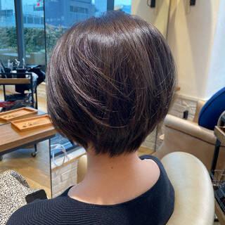 前髪なし ショートボブ 小顔ショート ショートヘアヘアスタイルや髪型の写真・画像
