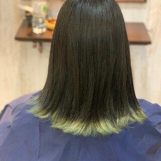 ボブ 裾カラー オレンジ アプリコットオレンジヘアスタイルや髪型の写真・画像