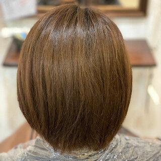 インナーカラー ボブ インナーカラーオレンジ オレンジヘアスタイルや髪型の写真・画像