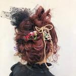 ラズベリーピンク セミロング 成人式カラー 成人式ヘア
