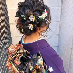 セミロング 成人式カラー ヘアアレンジ 成人式 ヘアスタイルや髪型の写真・画像