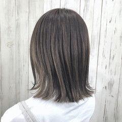 切りっぱなしボブ 透明感カラー アディクシーカラー ボブ ヘアスタイルや髪型の写真・画像