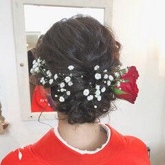 シニヨン フェミニン 卒業式 ミディアム ヘアスタイルや髪型の写真・画像