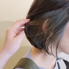デザインカラー ショートボブ ボブ ハイライト ヘアスタイルや髪型の写真・画像