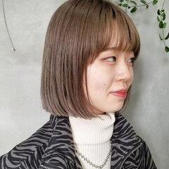 ストリート ベージュ ボブ ミルクティーベージュ ヘアスタイルや髪型の写真・画像
