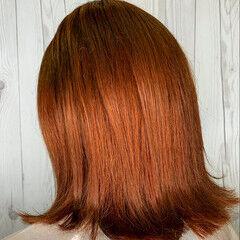 オレンジブラウン オレンジ オレンジベージュ モード ヘアスタイルや髪型の写真・画像