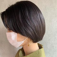 ウェットヘア ブルーブラック ショートボブ ボブ ヘアスタイルや髪型の写真・画像