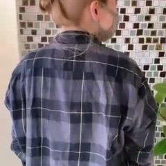 セルフヘアアレンジ お団子ヘア ニュアンスヘア ナチュラル ヘアスタイルや髪型の写真・画像