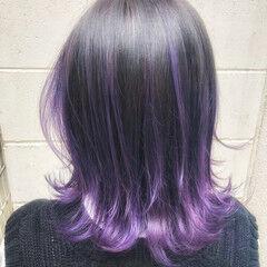 フェミニン ボブ パープル 裾カラー ヘアスタイルや髪型の写真・画像