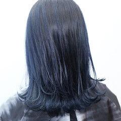 バレイヤージュ デザイン 外国人風カラー ブルー ヘアスタイルや髪型の写真・画像