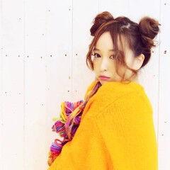 ストリート ミディアム お団子 アンニュイほつれヘア ヘアスタイルや髪型の写真・画像