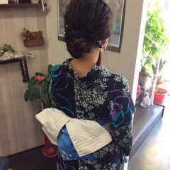 ナチュラル セミロング 浴衣ヘア 浴衣アレンジ ヘアスタイルや髪型の写真・画像