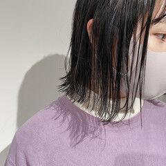 切りっぱなしボブ ナチュラル カジュアル ボブ ヘアスタイルや髪型の写真・画像