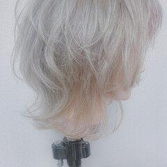 ホワイトカラー ホワイトベージュ ガーリー ホワイト ヘアスタイルや髪型の写真・画像