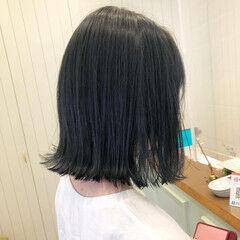 ネイビーブルー ボブ ナチュラル グレージュ ヘアスタイルや髪型の写真・画像