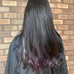 塩基性 インナーカラー ロング カラーバター ヘアスタイルや髪型の写真・画像