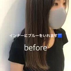 ナチュラル ブルーブラック インナーカラー ブルージュ ヘアスタイルや髪型の写真・画像