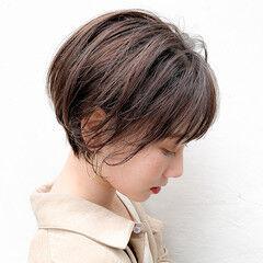 ナチュラル ショート オーガニックカラー ショコラブラウン ヘアスタイルや髪型の写真・画像