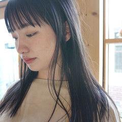 暗髪 ロング ナチュラル 透明感カラー ヘアスタイルや髪型の写真・画像