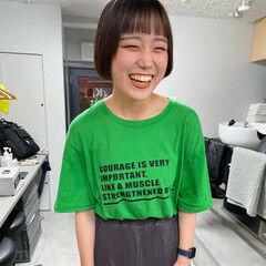 ナチュラル ミニボブ ぱっつん ファッション ヘアスタイルや髪型の写真・画像
