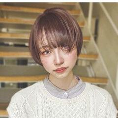 前髪パッツン レイヤーボブ ショートボブ ショート ヘアスタイルや髪型の写真・画像