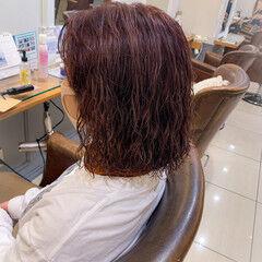 ガーリー ラベンダー ボブ ラベンダーカラー ヘアスタイルや髪型の写真・画像