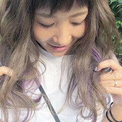 ピンク ストリート ロング バレイヤージュ ヘアスタイルや髪型の写真・画像