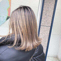 エレガント 3Dハイライト バレイヤージュ 極細ハイライト ヘアスタイルや髪型の写真・画像