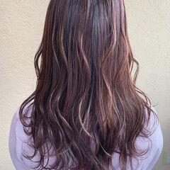 ピンクブラウン セミロング ピンクラベンダー ラベンダーピンク ヘアスタイルや髪型の写真・画像