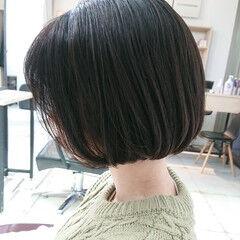 簡単スタイリング 切りっぱなしボブ ボブ 美シルエット ヘアスタイルや髪型の写真・画像