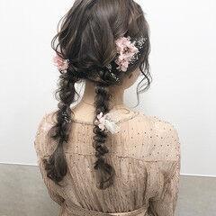編みおろし ガーリー 大人可愛い ドライフラワー ヘアスタイルや髪型の写真・画像