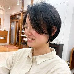 ナチュラル ショート ハンサムショート 前髪 ヘアスタイルや髪型の写真・画像