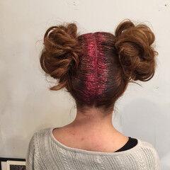 ガーリー ヘアセット ロング お団子 ヘアスタイルや髪型の写真・画像