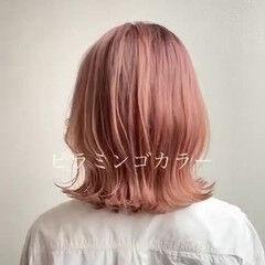 ハイトーンカラー オレンジベージュ ナチュラル ボブ ヘアスタイルや髪型の写真・画像
