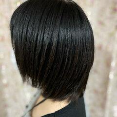 縮毛矯正 ミディアム 脱縮毛矯正 モード ヘアスタイルや髪型の写真・画像