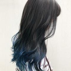 ガーリー ネイビーブルー ブルーブラック ターコイズブルー ヘアスタイルや髪型の写真・画像