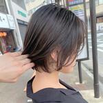 ショートボブ 透明感カラー ショートヘア グレージュ