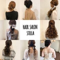 ヘアセット ハーフアップ 結婚式 アップスタイル ヘアスタイルや髪型の写真・画像